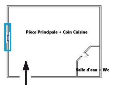 plan ou croquis de la distribution de l'appartement / logement / studio