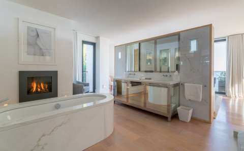 Bathroom Wooden floor Fireplace