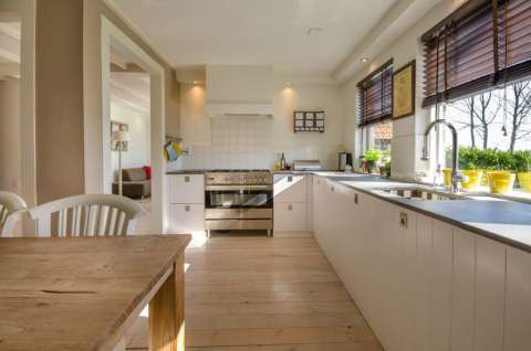 Kitchen Natural light Stainless steel Wooden floor