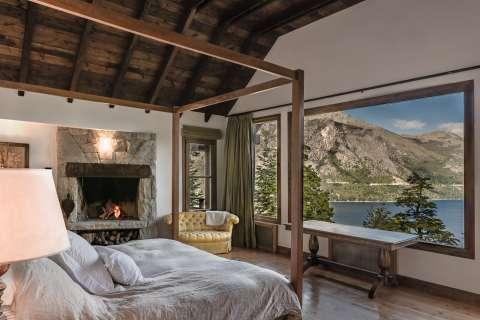 Bedroom Wooden floor Fireplace