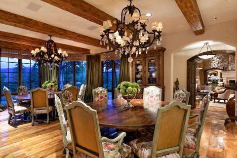 Dining room Chandelier Wooden floor