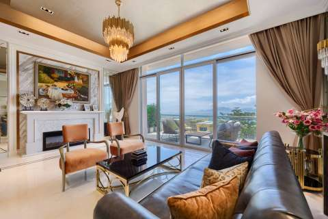 Living-room Chandelier Fireplace