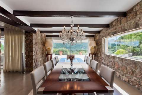 Dining room Chandelier Wood floors