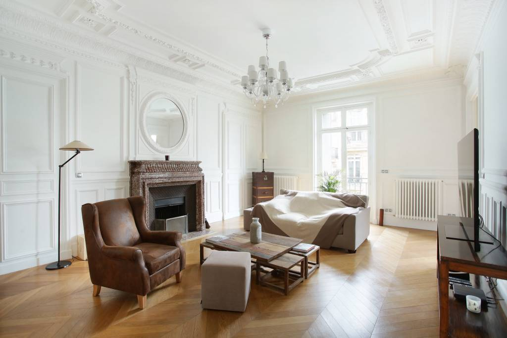 Living-room Wooden floor Chandelier Fireplace