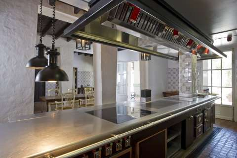 Kitchen Stainless steel Kitchen island Kitchen bar Wooden floor