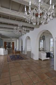 Hallway Tile Chandelier High ceiling