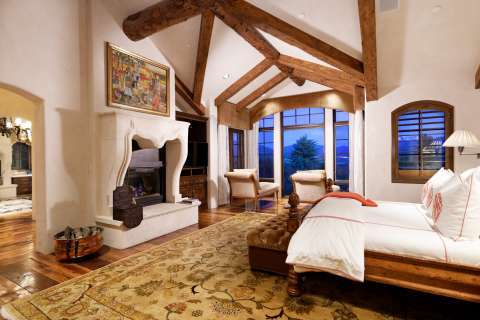 Bedroom Wooden floor Fireplace