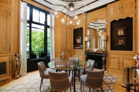 Dining room Wood floors Chandelier