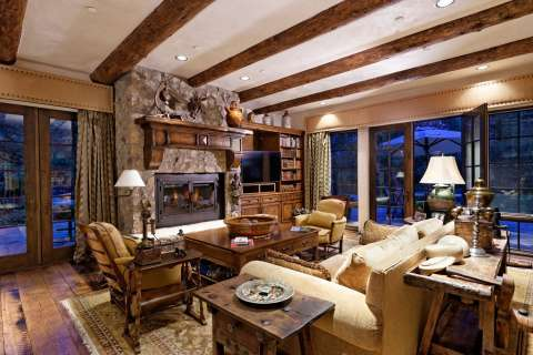 Living-room Fireplace Wooden floor Sliding windows