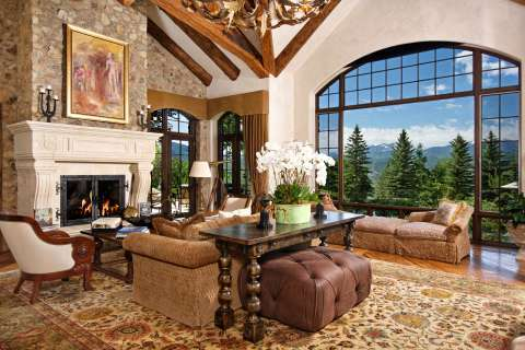 Living-room High ceiling Chandelier Fireplace