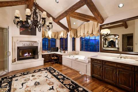 Bathroom Chandelier Wooden floor Fireplace