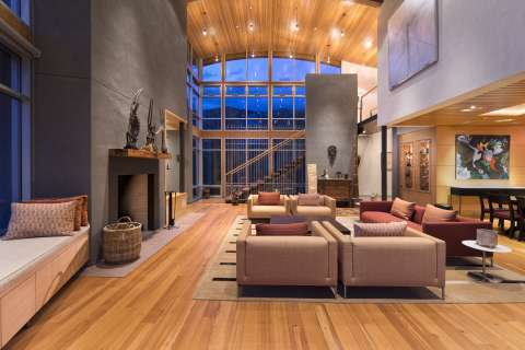 Living-room Wooden floor Fireplace High ceiling