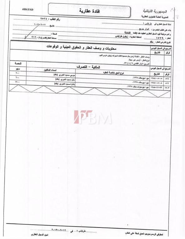 Vente Terrain Tripoli Abou Samra