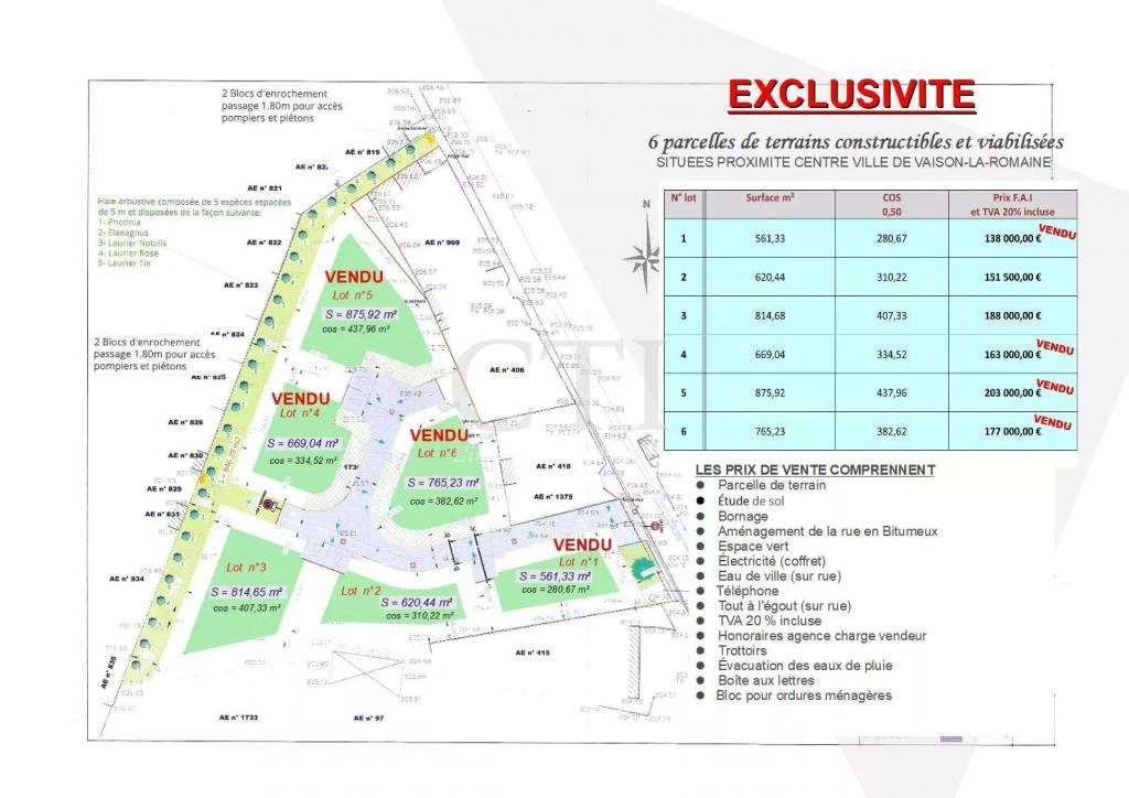 PLOT OF CONSTRUCTIBLE AND SERVICED LAND CLOSE TO THE TOWN CENTER OF VAISON-LA-ROMAINE