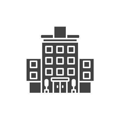 Hotel black glyph icon. Building: apartment, motel, hostel sign. Real estate. Pictogram for web page, mobile app, promo. UI UX GUI design element