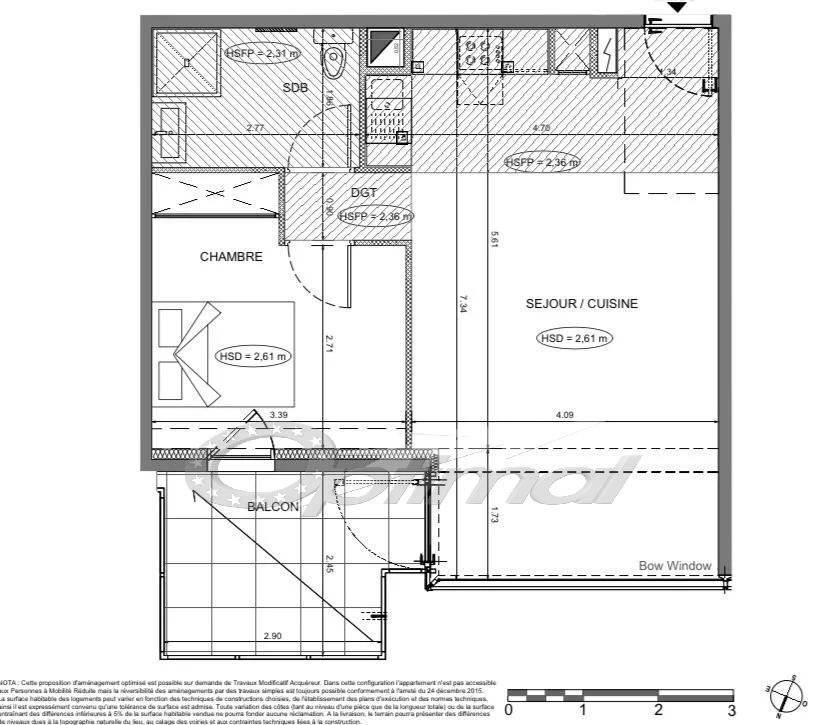 APPARTEMENT 2 PIECES SUR PLAN - BALCON -PARKING