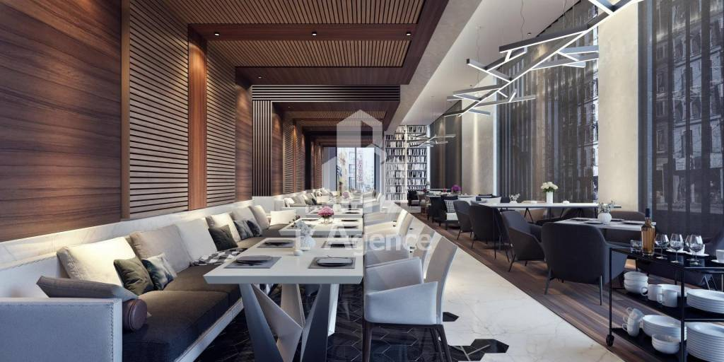 restaurant concept idea modern design interior wood armchair sofa booth service lounge elegance meal food coffee lunch plates table long vip expensive hotel resort blinds ceiling light books dinner br