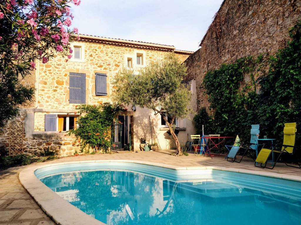 Stone village house with garden and pool on just 2 levels