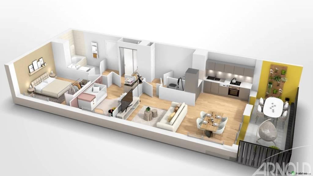 Appartement T3 neuf au deuxième étage avec 1 balcon de 10 m2  au Nord-Ouest de Rennes
