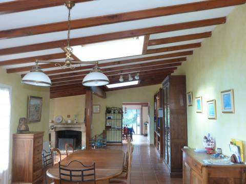 Dining room Ceiling fan Natural light Fireplace Tile Wooden floor