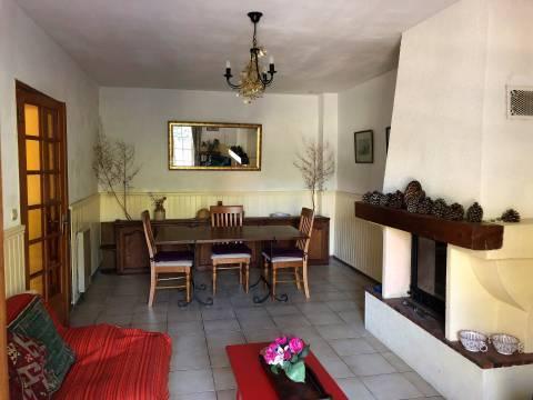 Dining room Tile Fireplace Chandelier