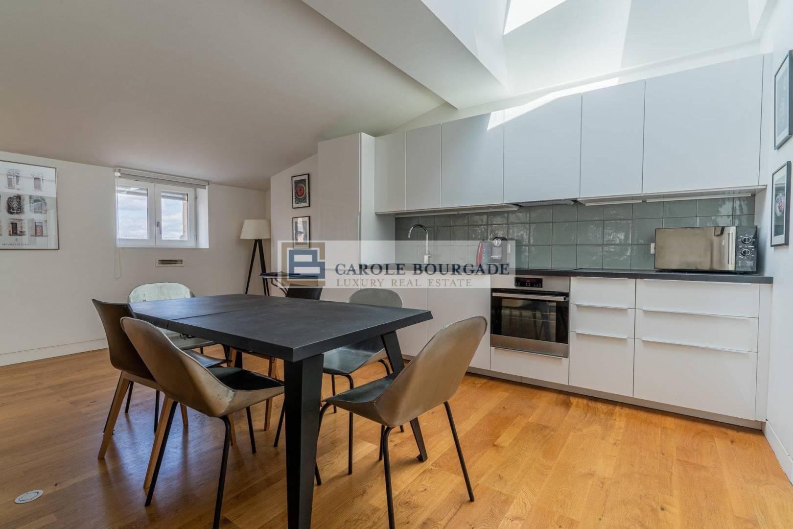 Kitchen Wooden floor Stainless steel High ceiling