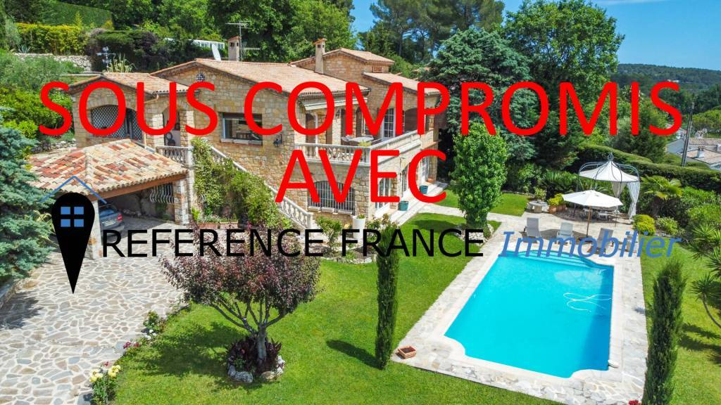 EXCLUSIVE. CALM. DOMAIN OF SAINT BASILE. MAGNIFICENT STONE VILLA WITH SUPERB VIEW OF THE VILLAGE OF MOUGINS AND TO THE SEA