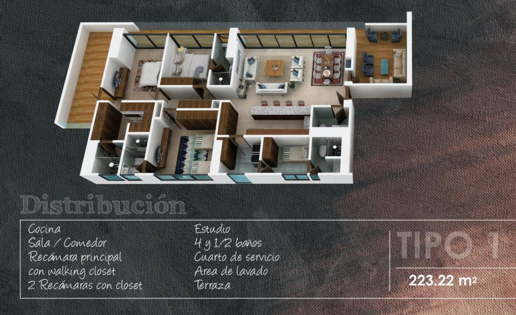 Apartment Type 1 - 223.22 m2 - 1 Bedroom with walking closet - 2 Bedrooms with closet - 1 Maid's room - 4 Full bathrooms - Guest toilet
