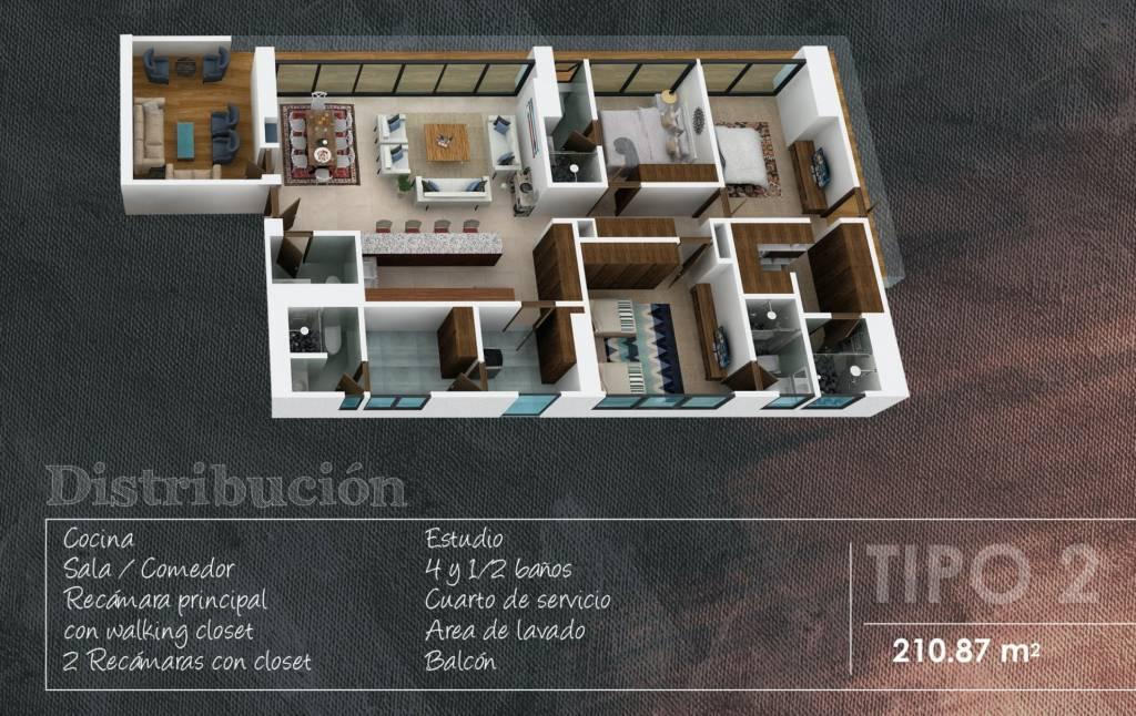 Appartement Type 2 - 210,87 m2 - 1 Chambre avec dressing - 2 Chambres avec placard - 1 Chambre de bonne - 4 Salles de bain complètes - Toilette invités