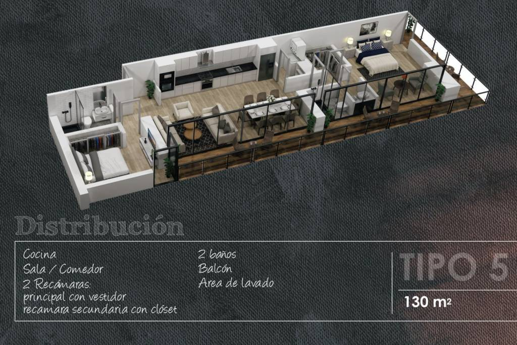 Apartment Type 5 - 130 m2 - 2 Bedrooms with (dressing room or closet) - 2 Complete bathrooms