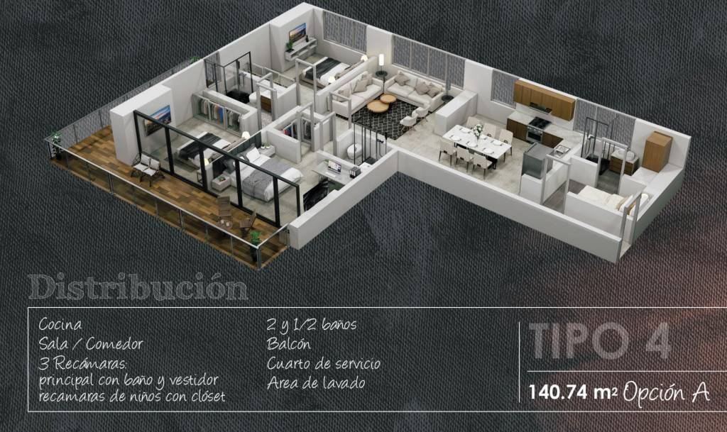 Apartment Type 4 - 140.74 m2 - 1 Bedroom with bathroom and dressing room - 2 Children's bedrooms - 1 Maid's room - 2 Full bathrooms