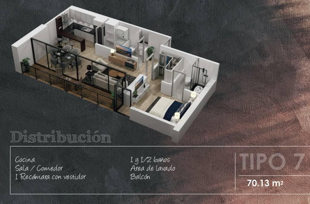 Appartement Type 7 - 70.13 m2 - 1 Chambre avec dressing - 1 et 1/2 Salles de Bains