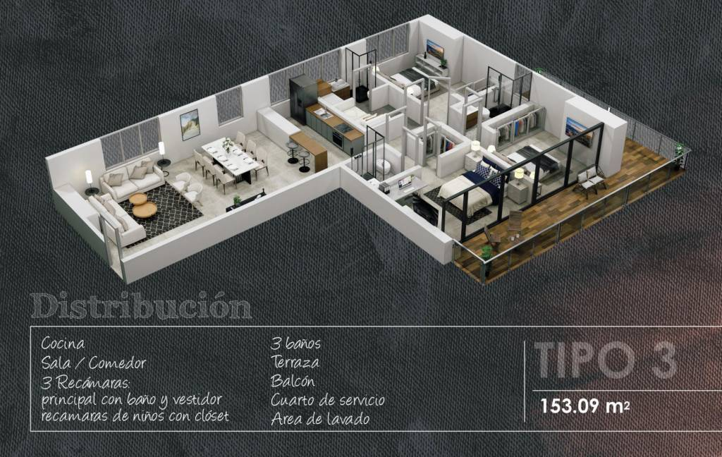 Apartment Type 3 - 153.09 m2 - 1 Bedroom with bathroom and dressing room - 2 Children's bedrooms with closet - 1 Maid's room - 3 Full bathrooms